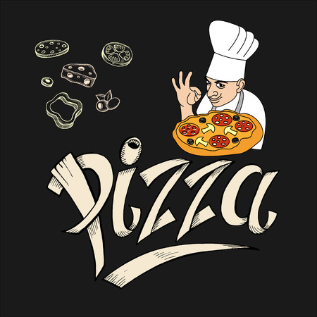 Chef Italian cuisine and pizza drawn with chalk on the black Board. Logo, label pizza. The design elements drawn pizza ingredients.