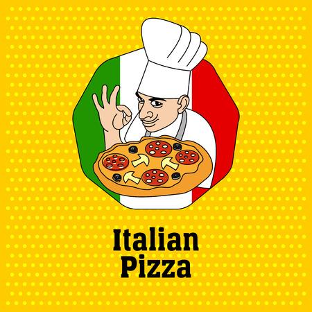 Chef de cocina italiana y pizza. Logotipo, etiqueta de la pizza. Logos