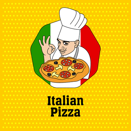 Chef de cocina italiana y pizza. Logotipo, etiqueta de la pizza.