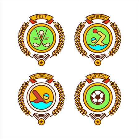 Emblems of sports clubs. Golf, water Polo, swimming, soccer. Vector illustration.