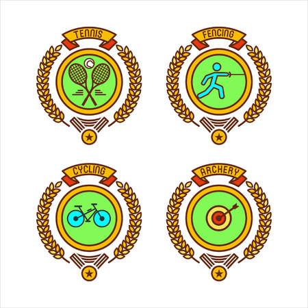 Emblems of sports clubs. Tennis, fencing, Cycling, archery. Vector illustration.