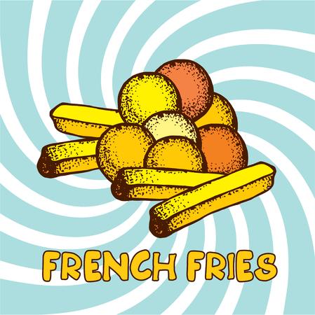 deep fried: French fries, potato balls, vector illustration hand drawn.