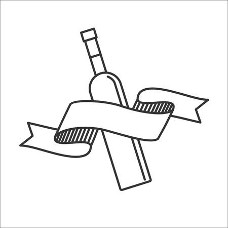 Wine bottle. Isolated on white background, vector icon.