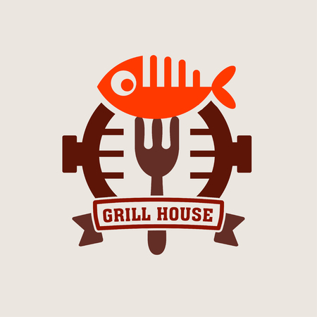 Grill bar label, logo. Label Steakhouse. The grill restaurant labels and design elements. Fish on the grill Illustration