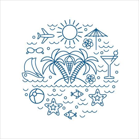 J'adore l'été, les palmiers, vecteur été et vacances affiche ou imprimer pour t-shirt en tendance style linéaire - illustration avec des icônes Banque d'images - 68481215