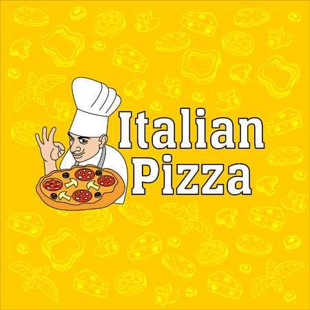 Chef de cocina italiana y pizza. Logotipo, etiqueta de la pizza. Los elementos de diseño dibujan ingredientes de la pizza. Logos
