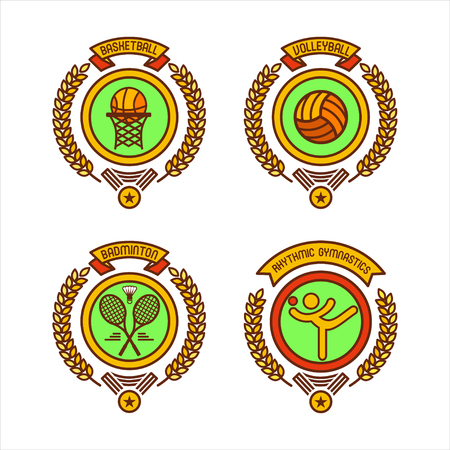 shuttlecock: Emblems of sports clubs. Basketball, volleyball, gymnastics, badminton. Vector illustration.