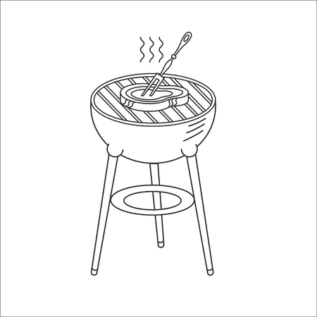 BBQ facilities, vector sign. BBQ facilities, logo. Steak barbecue on the grill.