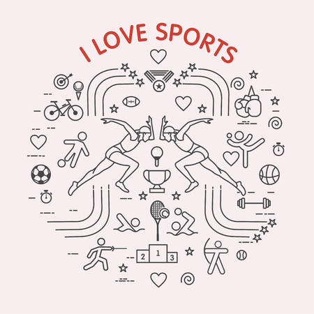 I love the sport. Sports infographics. Different types of sports. The set of elements and icons for print on t-shirts. Çizim