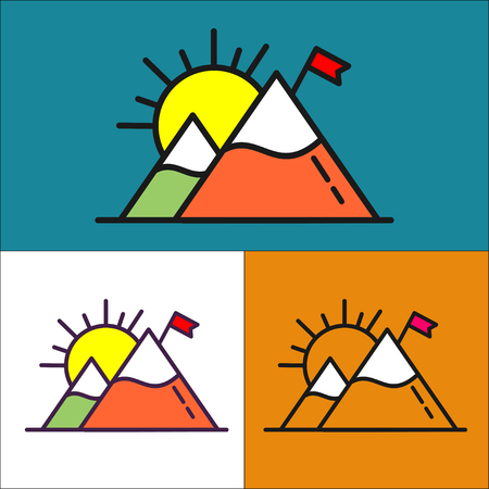 Climbing and travelling. Vector sign logo. Mountain with snowy peak and the flag. Ilustração