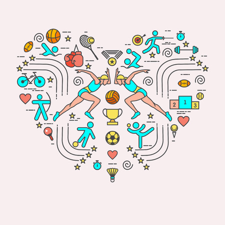 I love the sport. Sports infographics. The set of elements and icons for print on t-shirts in the shape of a heart. Different types of sports.