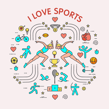 I love the sport. Sports infographics. The set of elements and icons for print on t-shirts. Different types of sports. Çizim