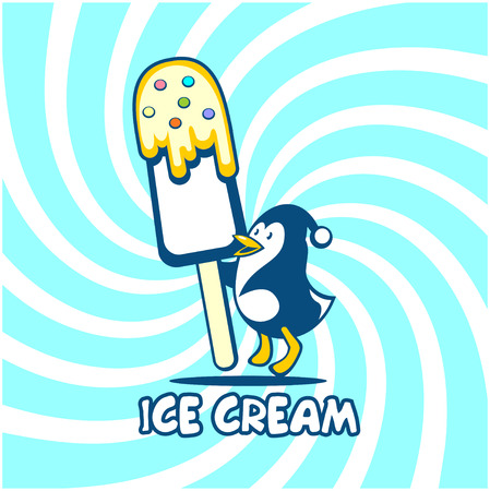 Ice cream logo. Vector illustration of penguin with ice cream on a bright background.