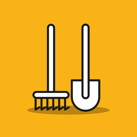 Garden tools. Shovel and rake. Tools for working in the garden. Vector icon.