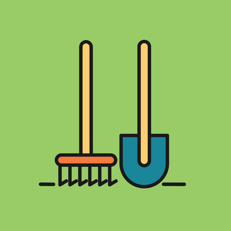 Garden tools. Tools for working in the garden. Shovel and rake. Vector icon. Illustration