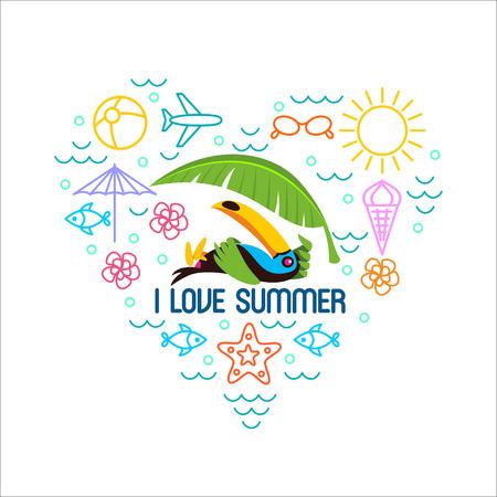 Sommer, Strand, Toucan, Infografiken. Satz Elemente für den Druck auf T-Shirts.