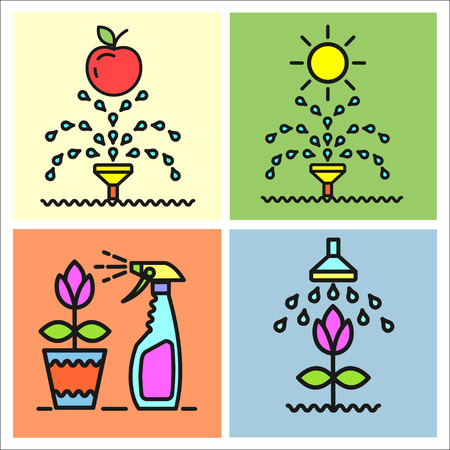 spraying: Garden, flowers and fruit, watering, spraying, garden maintenance, vector icons, icons.