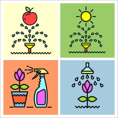 garden maintenance: Garden, flowers and fruit, watering, spraying, garden maintenance, vector icons, icons.