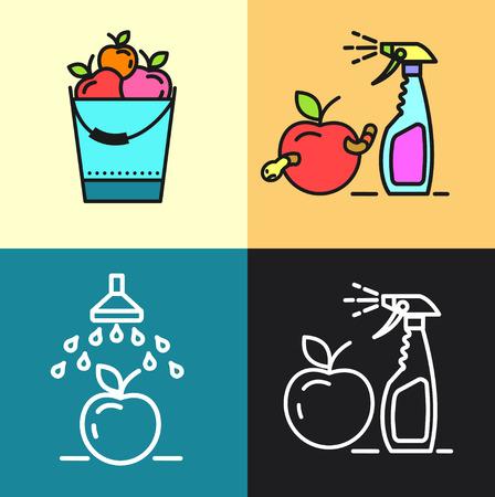 Garden, fruit crops, watering, spraying from garden pests, gardening, vector icons. Illustration