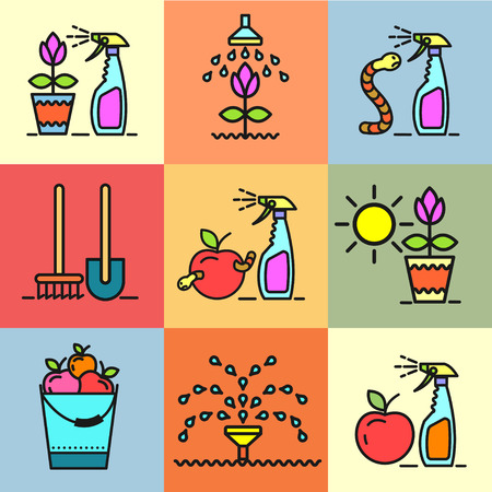 spraying: Garden, fruit yield, irrigation, garden tools, spraying from garden pests, gardening, flower pot, set of vector icons.