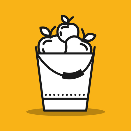 Bucket of apples. The fruit harvest. Vector icon.