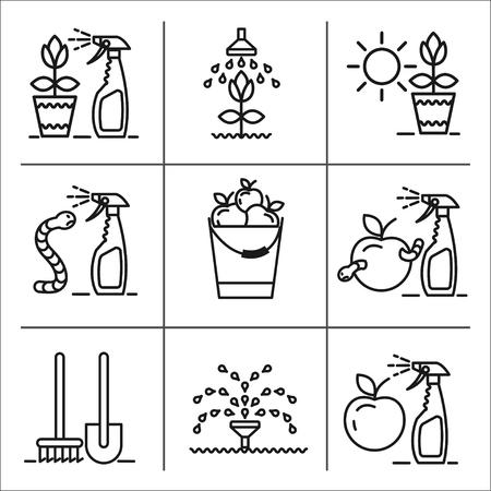 spraying: Garden, fruit, harvest, watering, spraying of garden pest, garden care, garden tools, set of vector icons.