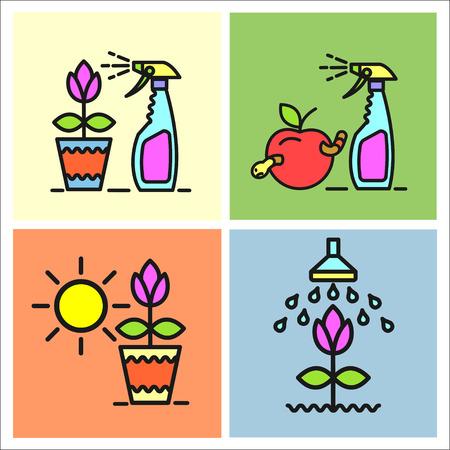 spraying: Garden, fruit, watering, spraying from garden pests, gardening, flower pot, set of vector icons.