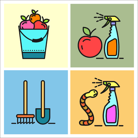 spraying: Garden, fruit, watering, spraying of garden pest, garden care, garden tools, set of vector icons. Illustration