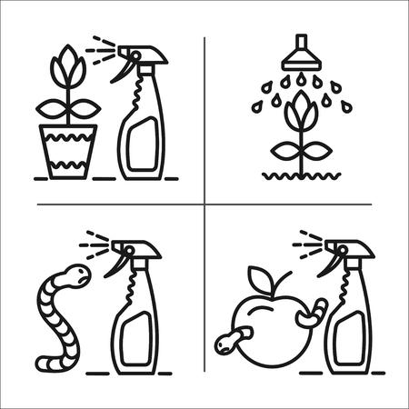 spraying: Garden, fruits, harvest, flowers, watering, spraying of garden pest, garden care, set of vector icons.