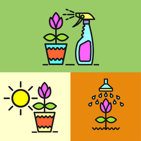 spraying: Garden, watering the flowers, spraying colors from pests, watering flowers, potted plant, spray, set of vector icons.