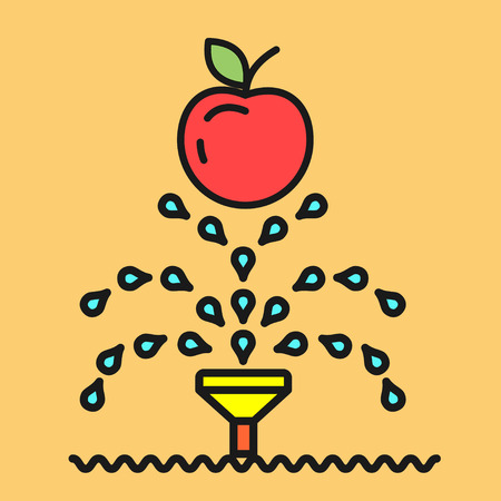 Garden. Watering fruit. Vector icon. Irrigation system for the plants.