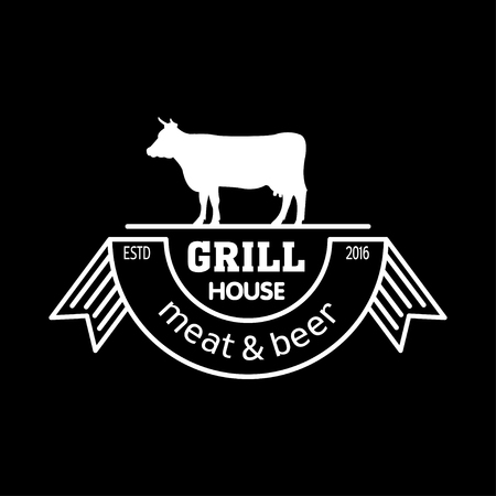 Grill house. Meat and beer. Vintage logo grill chalk on a black Board.  Logo for a cafe, beer restaurant. barbecue. Çizim