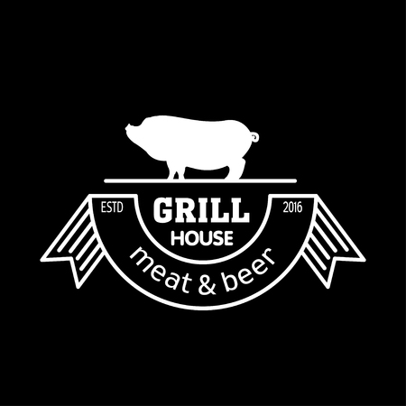 Grill house. Meat and beer. Vintage logo grilled pork with chalk on black Board. Logo for a cafe, beer restaurant. barbecue.