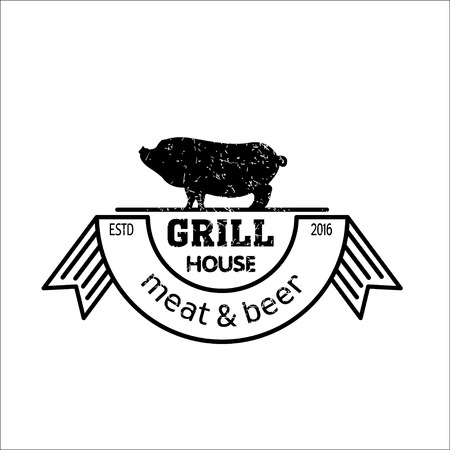 Grill house. Meat and beer. Vintage logo grilled pork. Logo for a cafe, beer restaurant. barbecue.