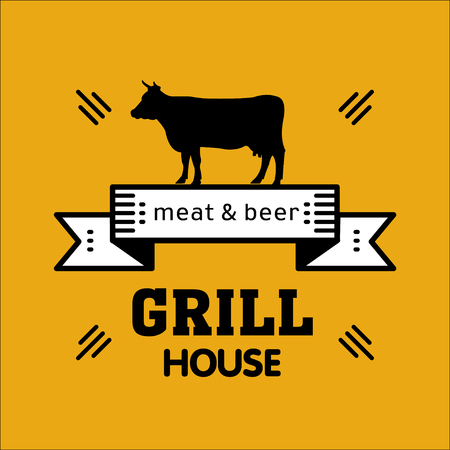 Grill house. Vintage grill logo on a yellow background. Meat and beer. Logo for a cafe, beer restaurant. barbecue.