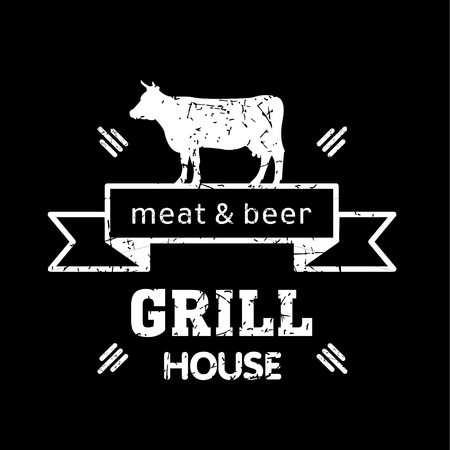 Grill house. Vintage logo grill chalk on a black Board. Meat and beer. Logo for a cafe, beer restaurant. barbecue.