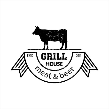 Grill house. Vintage logo grill.  Meat and beer. Logo for a cafe, beer restaurant. bbq.