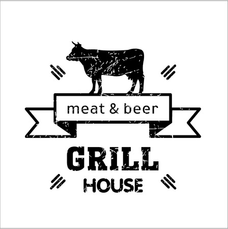 Grill house. Vintage logo grill. Barbecue. Meat and beer. Logo for a cafe, beer restaurant.