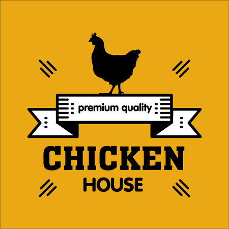 Grill house. Vintage logo grilled chicken on a yellow background. Highest quality. Logo for the cafe.