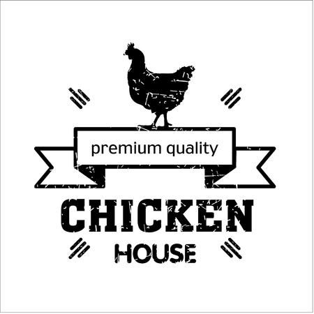 house logo: Grill house. Vintage logo grilled chicken. Highest quality. Logo for the cafe. Illustration
