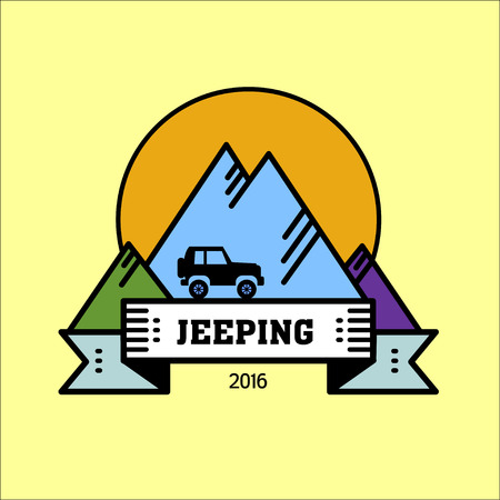Logo jeeping. Vector sign riding jeep off-road mountains in the background. Journey. Çizim