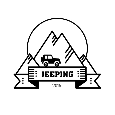 Logo jeeping. Vector sign riding jeep off-road mountains in the background. Travel, tourism, hobby, sport. 일러스트