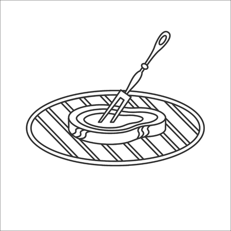 Meat on the barbeque grill. Vector icon barbecue. Fork in the piece of meat. Isolated on a white background.