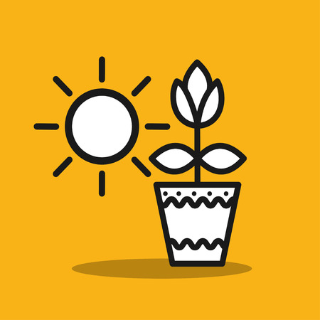potted: Potted plants. Flower in a pot.  Vector icon. Illustration
