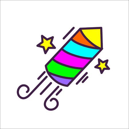 Pyrotechnic rocket. Vector icon, logo. 版權商用圖片 - 68481327