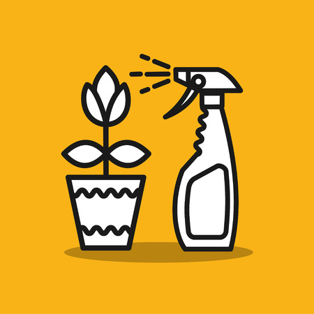 spraying: Remedy for pests. Spray. Spraying colors. A flower in a pot. Vector icon.