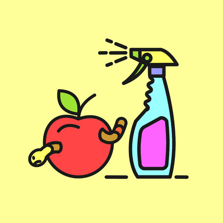 spraying: Remedy for pests. Spray. Spraying fruit. Spraying the garden .Vector icon. Illustration