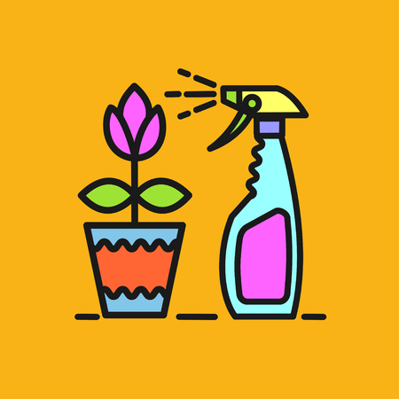 spraying: Remedy for pests. Spraying colors. A flower in a pot. Vector icon. Spray.