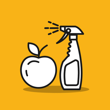Remedy for pests. Spraying fruit. Spray. Vector icon.