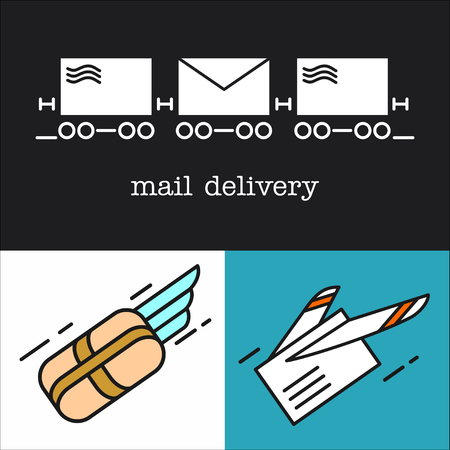 Mail. Fast delivery of letters. Set of vector icons. Letter, parcel, mail. E-mail.